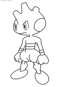 Покемон Тирог (Tyrogue) - скачать и распечатать раскраску. Раскраска Покемон
