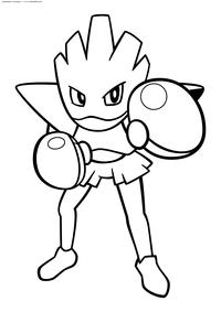 Покемон Хитмончан (Hitmonchan) - скачать и распечатать раскраску. Раскраска Покемон