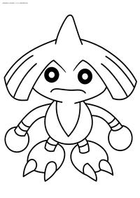 Покемон Хитмонтоп (Hitmontop) - скачать и распечатать раскраску. Раскраска Покемон