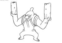 Покемон Конклдурр (Conkeldurr) - скачать и распечатать раскраску. Раскраска Покемон
