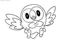 Покемон Роулет (Rowlet) - скачать и распечатать раскраску. Раскраска Покемон
