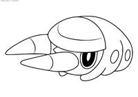 Покемон Граббин (Grubbin) - скачать и распечатать раскраску. Раскраска Покемон