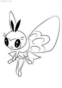 Покемон Рибомби (Ribombee) - скачать и распечатать раскраску. Раскраска Покемон