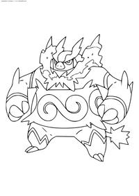 Покемон Эмбор (Emboar) - скачать и распечатать раскраску. Раскраска Покемон