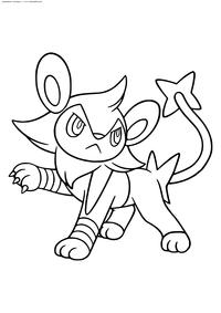 Покемон Люксио (Luxio) - скачать и распечатать раскраску. Раскраска Покемон
