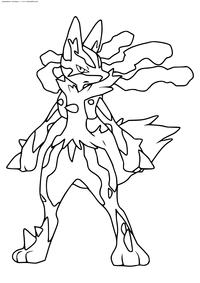 Покемон Мега Лукарио (Mega Lucario) - скачать и распечатать раскраску. Раскраска Покемон