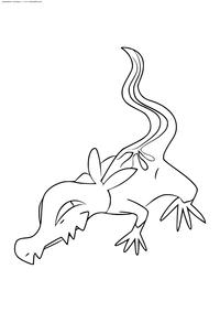 Покемон Саландит (Salandit) - скачать и распечатать раскраску. Раскраска Покемон