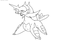 Покемон Самуротт (Samurott) - скачать и распечатать раскраску. Раскраска Покемон