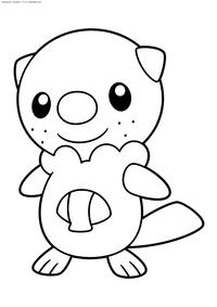 Покемон Ошавотт (Oshawott) - скачать и распечатать раскраску. Раскраска Покемон