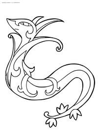 Покемон Серпериор (Serperior) - скачать и распечатать раскраску. Раскраска Покемон