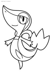 Покемон Снайви (Snivy) - скачать и распечатать раскраску. Раскраска Покемон