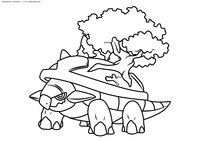 Покемон Тортерра (Torterra) - скачать и распечатать раскраску. Раскраска Покемон