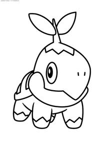 Покемон Туртвиг (Turtwig) - скачать и распечатать раскраску. Раскраска Покемон