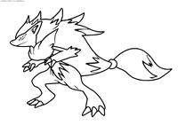 Покемон Зороарк (Zoroark) - скачать и распечатать раскраску. Раскраска Покемон