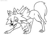Покемон Ликанрок (Lycanroc) - скачать и распечатать раскраску. Раскраска Покемон