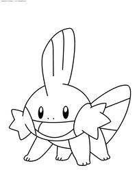 Покемон Мадкип (Mudkip) - скачать и распечатать раскраску. Раскраска Покемон