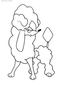 Покемон Фурфу (Furfrou). Стиль алмаз - скачать и распечатать раскраску. Раскраска Покемон