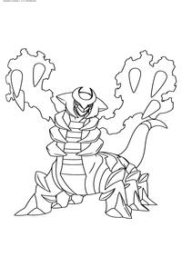 Легендарный покемон Гиратина (Giratina) - скачать и распечатать раскраску. Раскраска Покемон