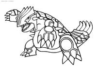 Легендарный покемон Гроудон (Groudon) - скачать и распечатать раскраску. Раскраска Покемон
