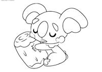 Покемон Комала (Komala) - скачать и распечатать раскраску. Раскраска Покемон