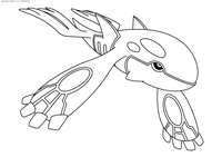 Легендарный покемон Кайогр (Kyogre) - скачать и распечатать раскраску. Раскраска Покемон