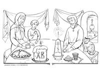 Пасхальный пир - скачать и распечатать раскраску. Раскраска Семья мама папа сын празднуют пасху, крашенные яйца, куличи, пасха, семья