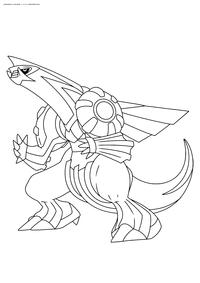 Легендарный покемон Палкиа (Palkia) - скачать и распечатать раскраску. Раскраска Покемон