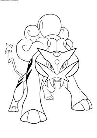 Легендарный покемон Райкоу (Raikou) - скачать и распечатать раскраску. Раскраска Покемон
