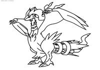 Легендарный покемон Реширам (Reshiram) - скачать и распечатать раскраску. Раскраска Покемон
