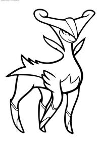 Легендарный покемон Виризион (Virizion) - скачать и распечатать раскраску. Раскраска Покемон