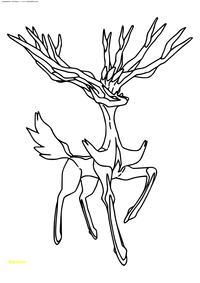 Легендарный покемон Зёрниас (Xerneas) - скачать и распечатать раскраску. Раскраска Покемон