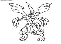 Легендарный покемон Зекром (Zekrom) - скачать и распечатать раскраску. Раскраска Покемон