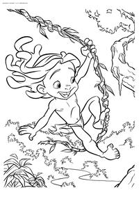 Тарзан на лиане - скачать и распечатать раскраску. Раскраска Тарзан