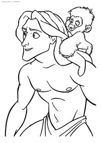 Тарзан и обезьянка - скачать и распечатать раскраску. Раскраска Обезьянка, Тарзан