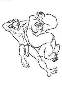 Тарзан И Кала - скачать и распечатать раскраску. Раскраска Тарзан, горилла, обезьяна