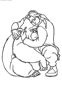 Кала и Тарзан - скачать и распечатать раскраску. Раскраска Тарзан, горилла, обезьяна
