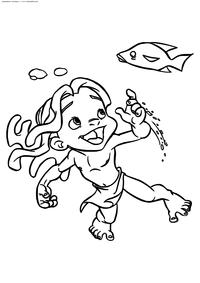 Юный Тарзан - скачать и распечатать раскраску. Раскраска Тарзан