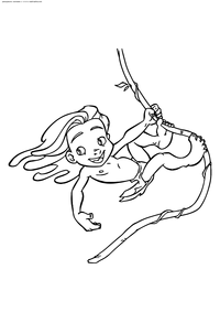 Юный Тарзан на лиане - скачать и распечатать раскраску. Раскраска Тарзан