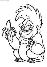 Горилла Терк - скачать и распечатать раскраску. Раскраска Горилла, банан, обезьяна