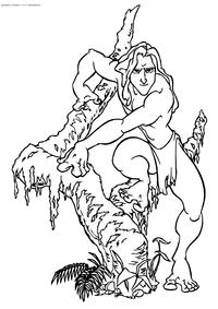 Тарзан - скачать и распечатать раскраску. Раскраска Тарзан