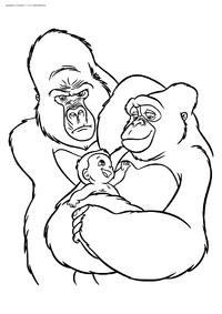 Новая семья Тарзан - скачать и распечатать раскраску. Раскраска Тарзан, гориллы, обезьяны