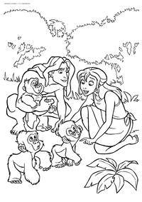 Тарзан и Джейн - скачать и распечатать раскраску. Раскраска Тарзан, Джейн
