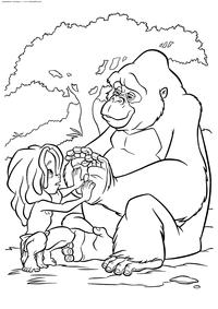 Тарзан и Кала - скачать и распечатать раскраску. Раскраска Тарзан, горилла