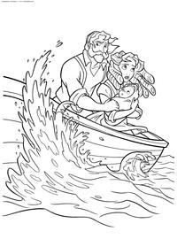 Кораблекрушение - скачать и распечатать раскраску. Раскраска Лодка, буря, семья