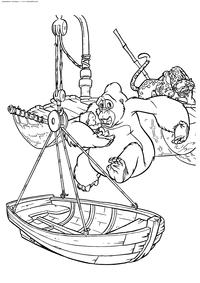 Кала спасает Тарзана - скачать и распечатать раскраску. Раскраска Лодка, Тарзан, леопард, горилла