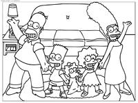 Семья Симпсонов - скачать и распечатать раскраску. Раскраска Симпсоны, семья