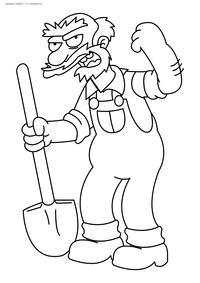 Садовник Вилли - скачать и распечатать раскраску. Раскраска Симпоны, лопата