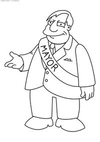 Мэр Спрингфида – Куимби - скачать и распечатать раскраску. Раскраска Симпсоны