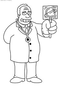 Семейный доктор Симпсонов Джулиус Хибберт - скачать и распечатать раскраску. Раскраска Симпсоны