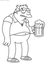 Спрингфилдский пьяница Барни Гамбл - скачать и распечатать раскраску. Раскраска Симпсоны, пиво